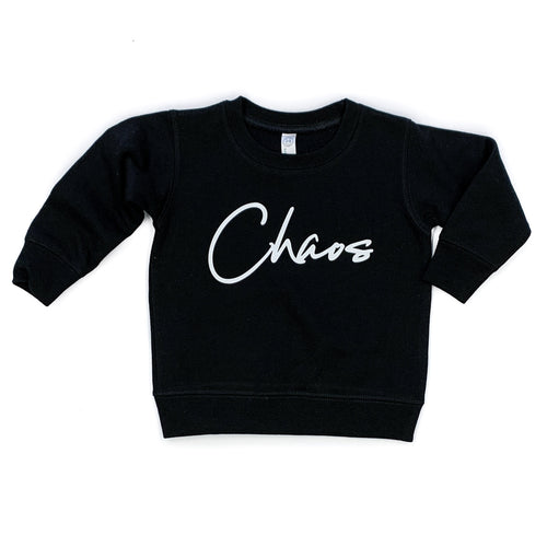 Chaos Black Fleece Pullover  |  White Ink