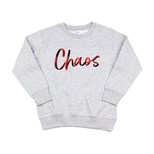Chaos Gray Fleece Pullover  |  Buffalo Plaid Ink