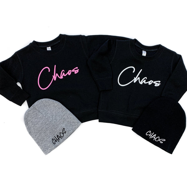 Chaos Black Fleece Pullover  |  Pink Lemonade Ink