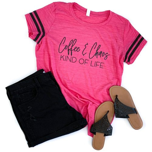 Coffee & Chaos kind of life neon pink varsity shirt