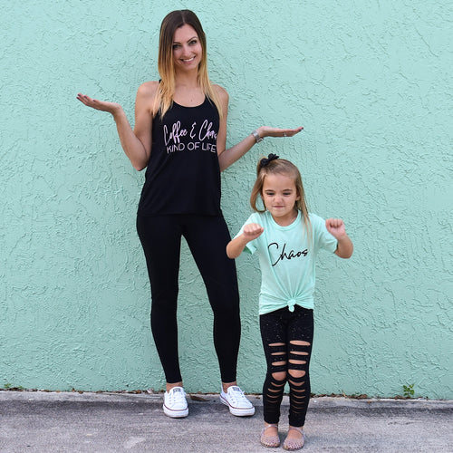 Coffee & Chaos Kind of Life Black Flowy Tank  |  Light Pink Ink