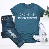 Coffee because sleep is overrated steel blue triblend shirt