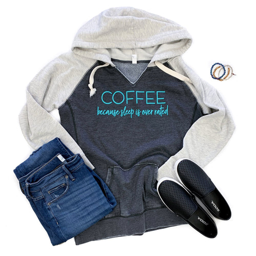 Coffee Because Sleep Is Overrated Heather Black/Oatmeal V-Neck Fleece Hoodie  |  Seafoam Ink