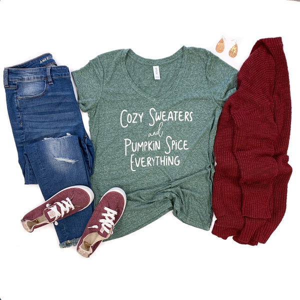 Cozy Sweaters & Pumpkin Spice Everything Forest Green Melange V-Neck Tee  |  White Ink