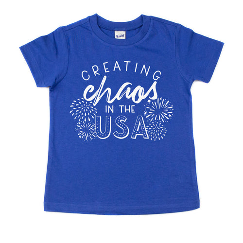 Creating Chaos in the USA Blue Kids Tee  |  White Ink