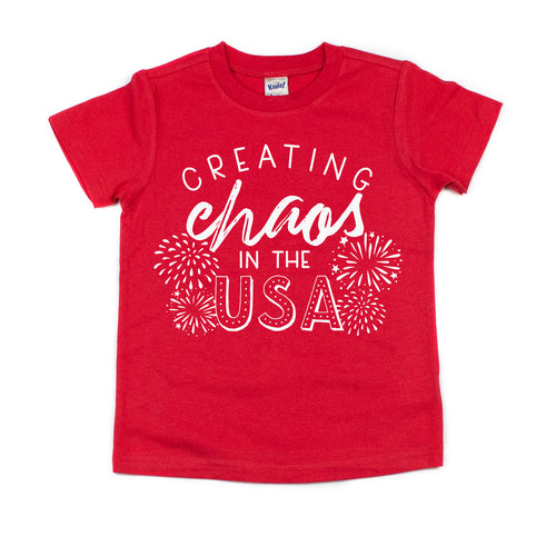 Creating Chaos in the USA Red Kids Tee  |  White Ink