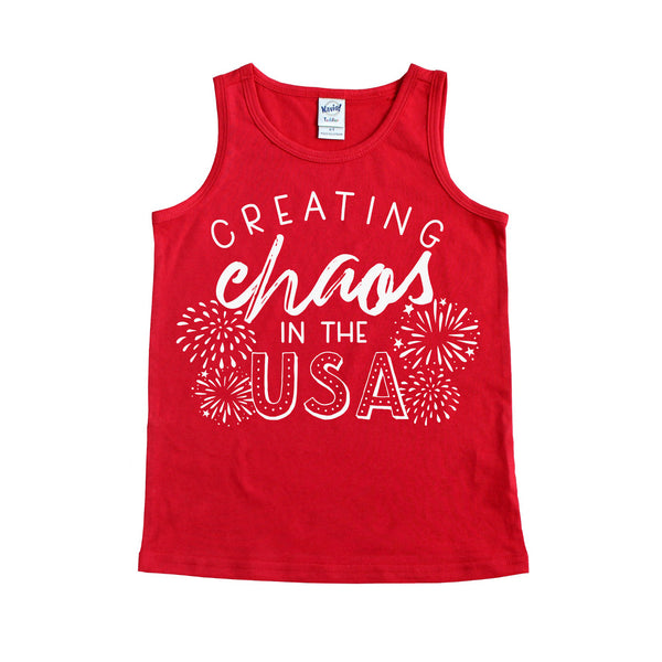 Creating Chaos in the USA Red Kids Unisex Tank  |  White Ink