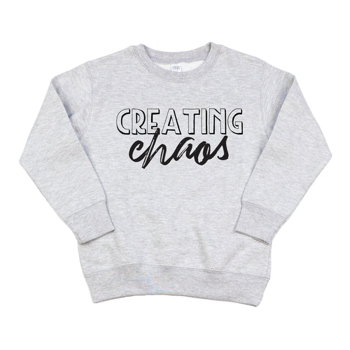 Creating Chaos Gray Fleece Pullover  |  Black Ink