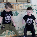Black tees 'We'll be friends forever won't we?' and 'even longer' sibling matching set