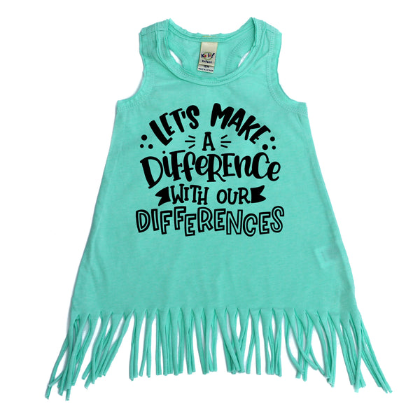 Let's make a difference with our differences mint fringe dress