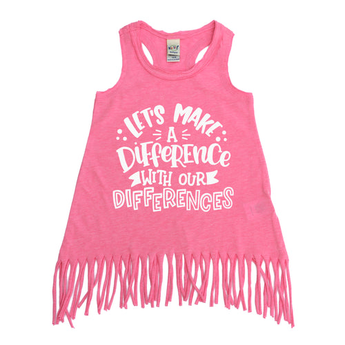 Let's Make a Difference with Our Differences Fringe Dress  |  White Ink