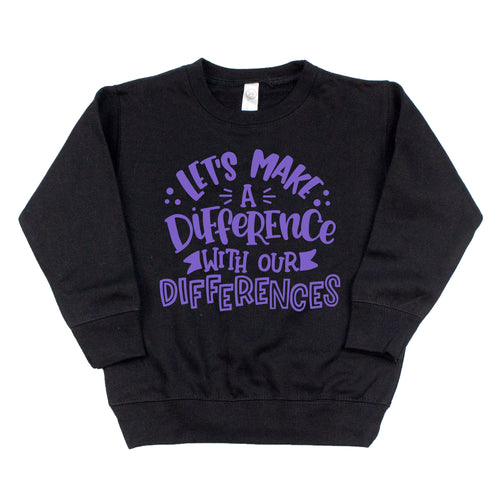 Let's Make a Difference Black Fleece Pullover  |  Light Purple Ink