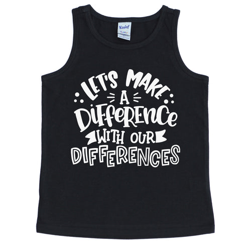 Let's Make a Difference With Our Differences YOUTH Tank  |  White Ink