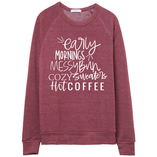early mornings messy bun cozy sweaters hot coffee currant unisex sweater