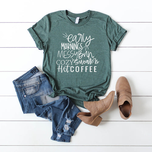 Early Mornings Cozy Sweaters Forest Green Tee