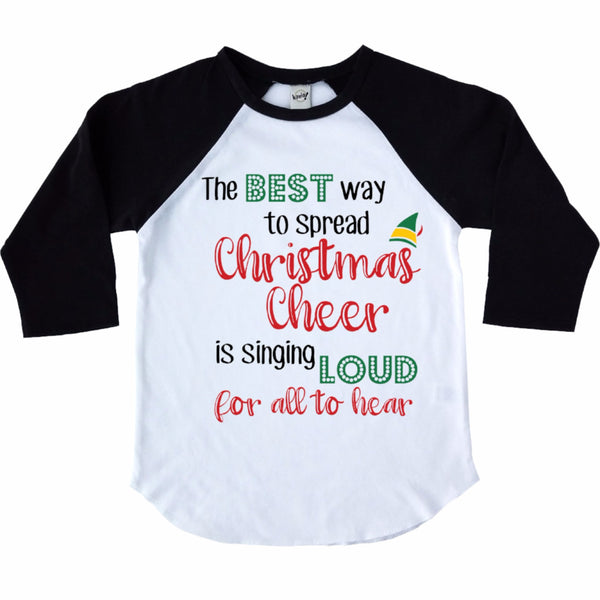 christmas cheer black raglan