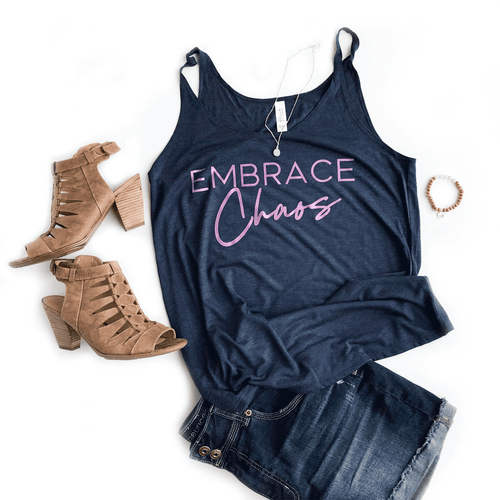 Embrace Chaos Heather Navy Slouchy Tank