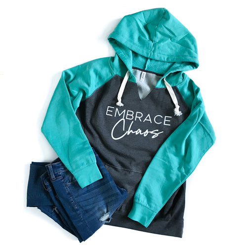 Embrace Chaos Dark Gray/Seafoam Hoodie - White Ink