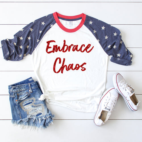 Embrace Chaos Stars Raglan  |  Red Glitter Ink