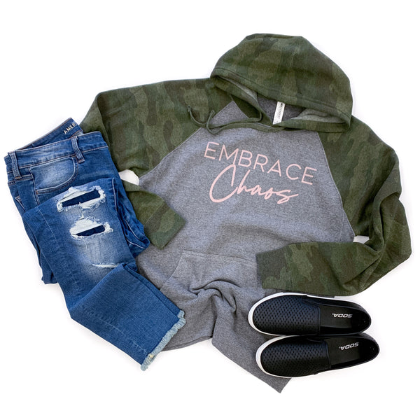 Embrace Chaos Gray/Camo Hoodie  |  Rose Gold Shimmer Ink