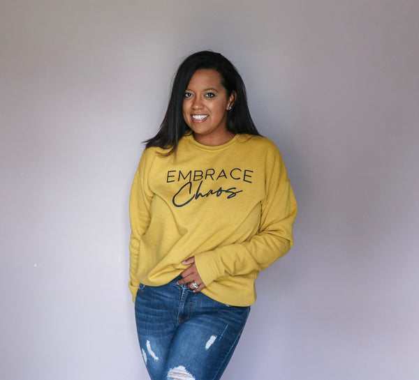 Embrace Chaos Heather Mustard Fleece Pullover  |  Black Ink