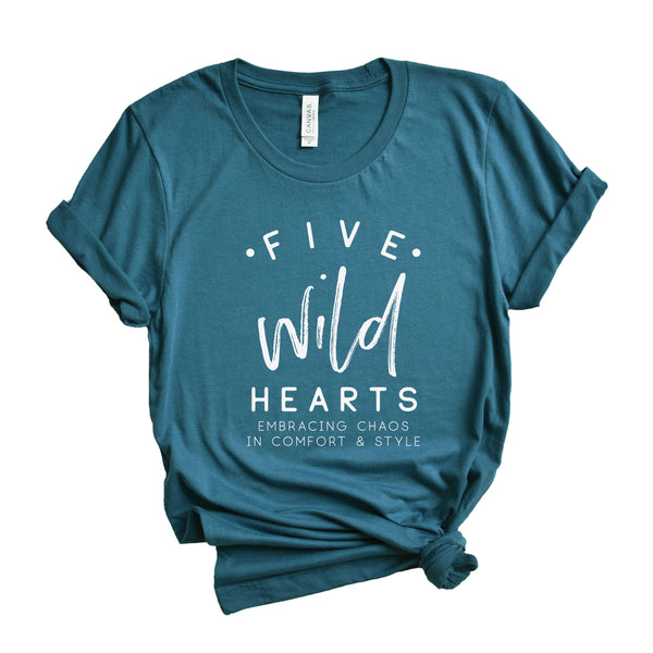 Five Wild Hearts Large Logo Deep Teal Crew Neck OR V-Neck Tee  |  White Ink