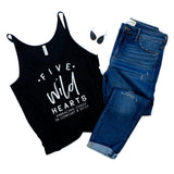 Five Wild Hearts Large Logo Black Heather Slouchy Tank  |  White Ink