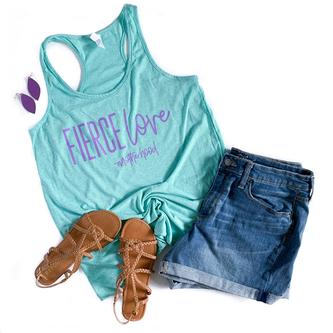 Fierce Love -Motherhood Seaglass Melange Flowy Racerback Tank  |  Light Purple Ink  FINAL SALE-NO CODES