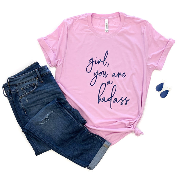 Girl You Are a Badass Lilac Triblend Tee  |  Navy Glitter Ink