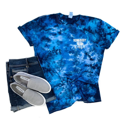 Homebody Club Member Mediterranean Tie Dye Tee  |  White Ink