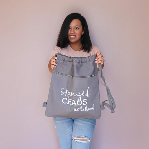 Organized Chaos Gray Cinch Bag  |  White Ink