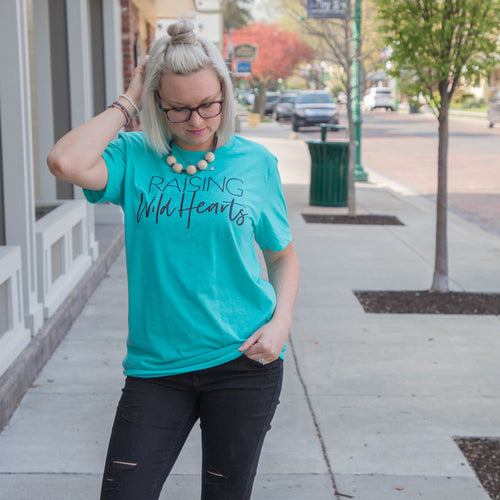 Raising Wild Hearts Heather Sea Green Tee
