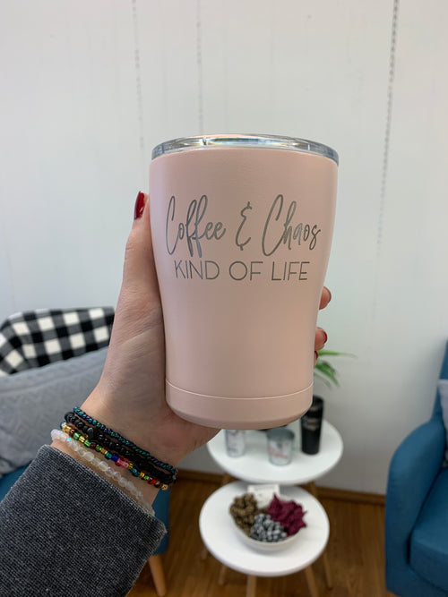 Coffee & Chaos Kind of Life 12 oz. Blush Tumbler
