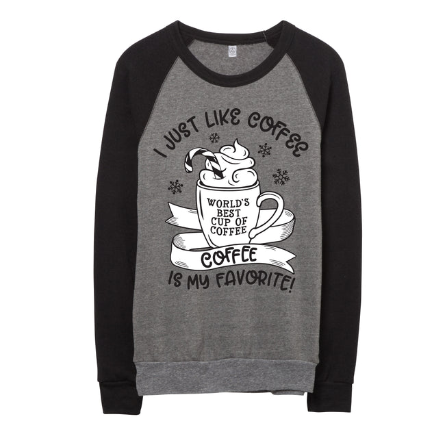 I Just Like Coffee Red Fleece Pullover  |  Black & White Ink