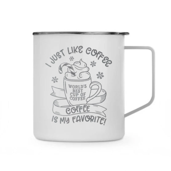 I Just Like Coffee White 14 oz Stainless Steel Coffee Mug