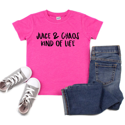 Gotta Have It Deal - Juice & Chaos Kind of Life Heather Hot Pink Kids Tee  |  Black Ink