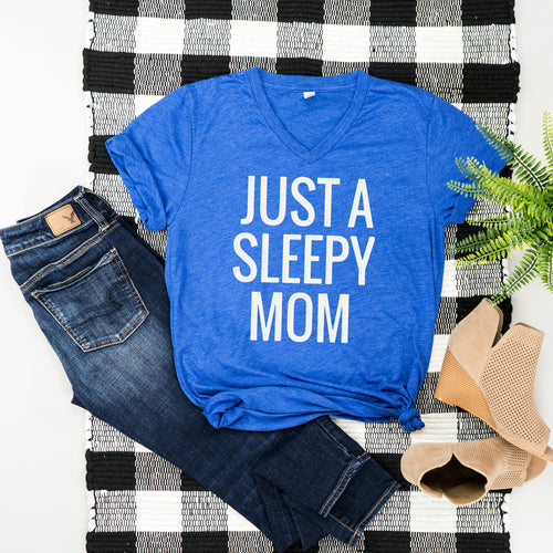 Just a Sleepy Mom Heather Blue Tee  |  White Ink