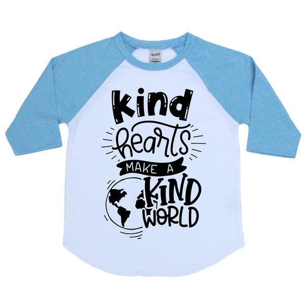 Kind hearts make a kind world blue kids raglan