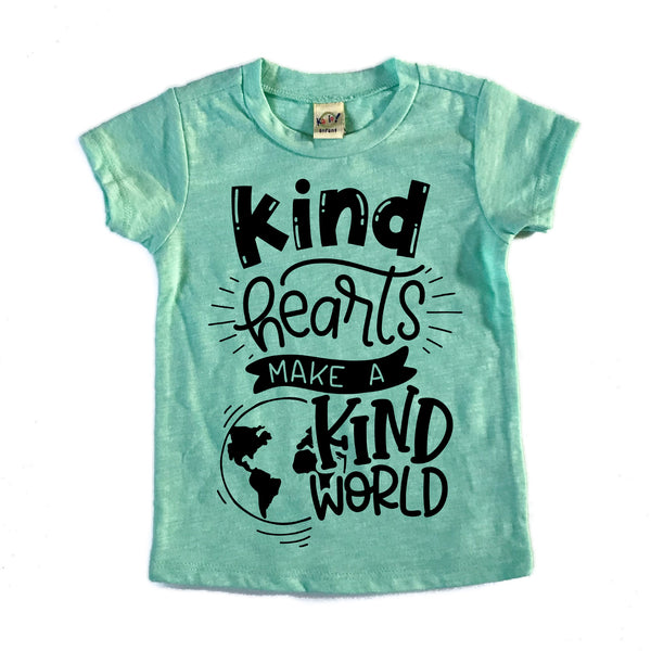 Kind hearts make a kind world mint slub kids tee