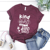 Kind hearts make a kind world heather maroon v-neck adult shirt