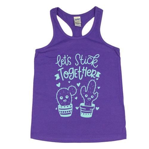 Let's Stick Together Kids Racerback Tank  |  Tranquil Blue Ink