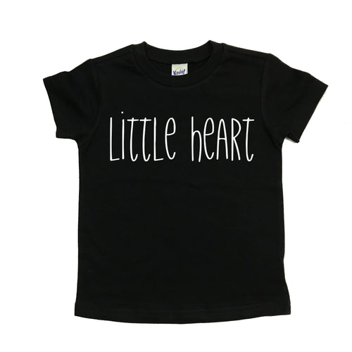 Little heart black kids tee - white text