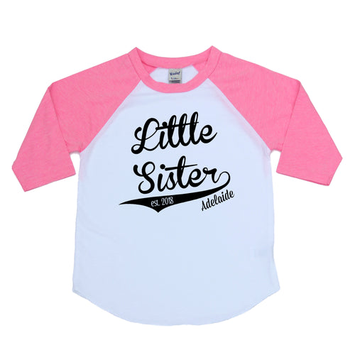 Little sister pink raglan