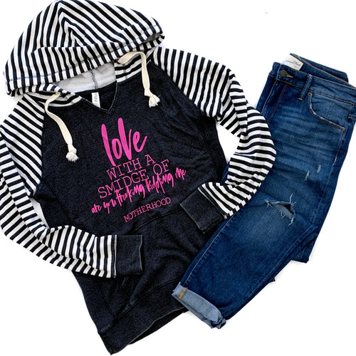 Love With A Smidge Of Are You Freaking Kidding Me Black Stripe V-Neck Hoodie  |  Fuchsia Ink