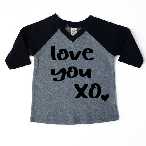 Love You XO V-Neck Raglan - Black Design