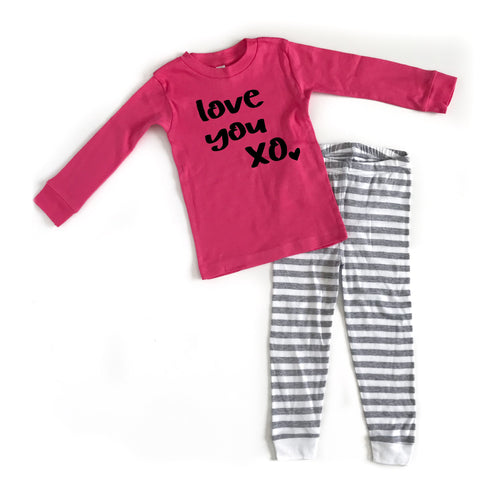 Love You XO Youth PJ's - Black Design