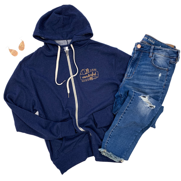 It's The Most Wonderful Time of the Year Heather Navy Thumbhole Hoodie  |  Copper Shimmer Ink