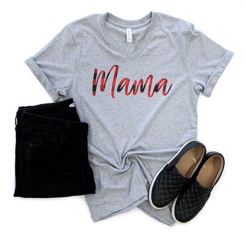 Mama Athletic Gray V-Neck Tee  |  Buffalo Plaid Ink