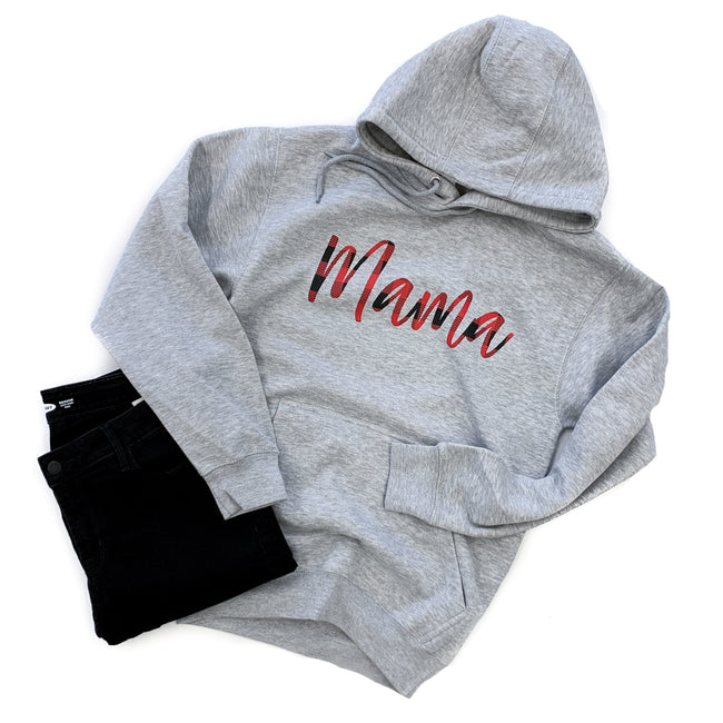 Mama Gray Hoodie  |  Buffalo Plaid Ink