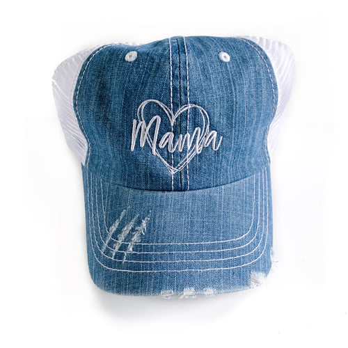 Mama Heart Denim Hat  |  White Thread